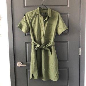 Utility Shirt Dress with Tie Waist